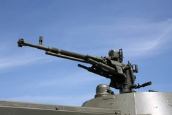 One machine gun on a armoured personnel carrier