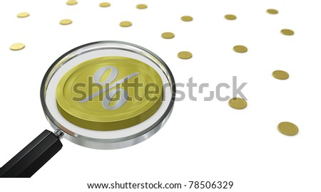 one magnifying lens that show a coin with a percent symbol, concept of a business good opportunity (3d render)