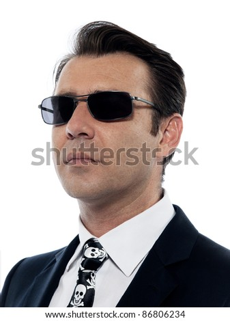 one Man caucasian criminal portrait serious with sunglasses in studio isolated on white background