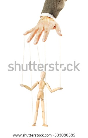 One man controls the other like a puppet. Concept of manipulation and dependence