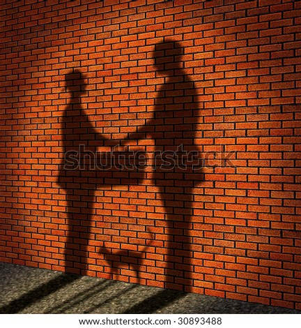 One man delivery to other man a suitcase (it is drawn in the form of a shade against a brick wall)