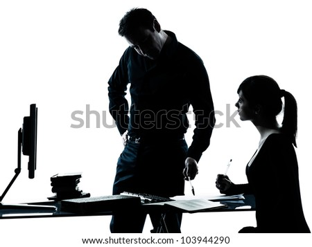 one man father professor and student teenager girl helping for homework in silhouette indoors isolated on white background