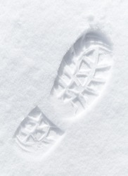 One man's footstep on the fresh friable snow