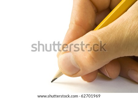 One man's hand with the pencil isolated on white background
