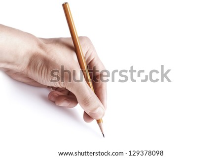 One man's hand with the pencil isolated on white background free space