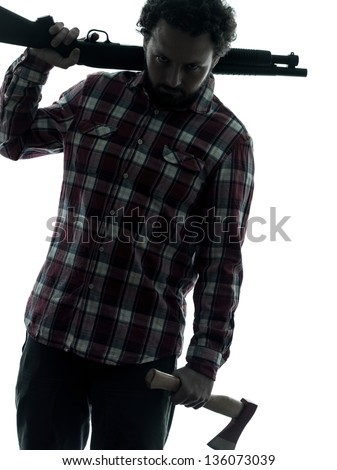 one man serial killer shotgun and axe  silhouette studio isolated on white background