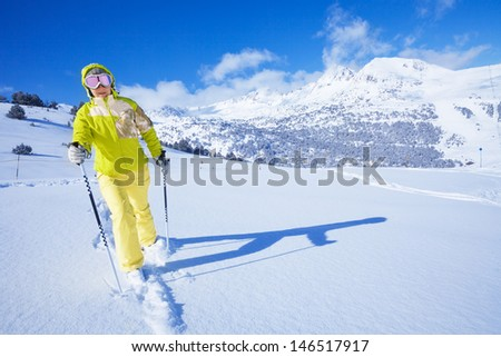 One man walking with ski over the snow virgin land