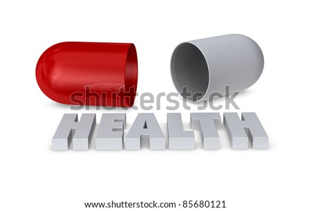 one medical pill open, concept of health (3d render)