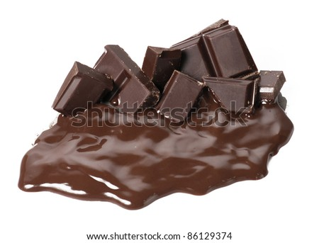 One melting chocolate bars. Chocolate cream and sticks on white background.