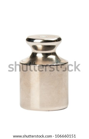 One metal weight on a white background