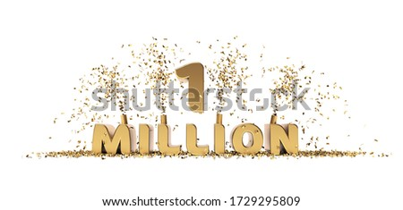 One million achievement celebration 3D rendering text white background Stock fotó ©