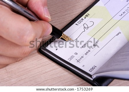 One million dollar cheque. (Acount info & signature were manipulated) - stock photo