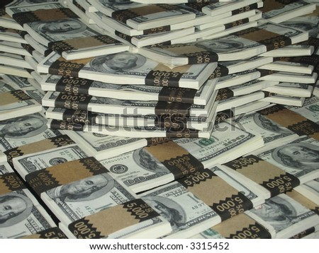 One million dollars in stacked greenbacks