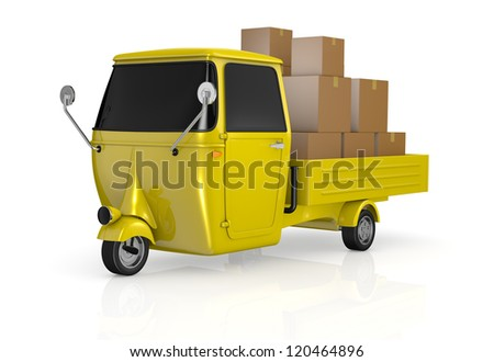 one mini truck with carton boxes on the body (3d render)