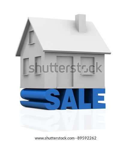one miniature house with the word: sale under it (3d render)