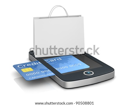 one mobile computer device with a shopping bag, concept of online shopping (3d render) - stock photo