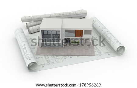 one model of a modern house with blueprints, concept of house planning (3d render)