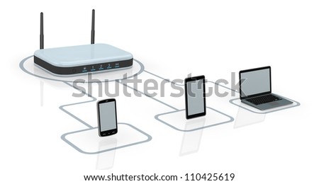 one modem router with two antennas for wireless network, connected to several devices (3d render)