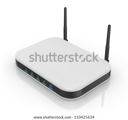 one modem router with two antennas for wireless network (3d render)