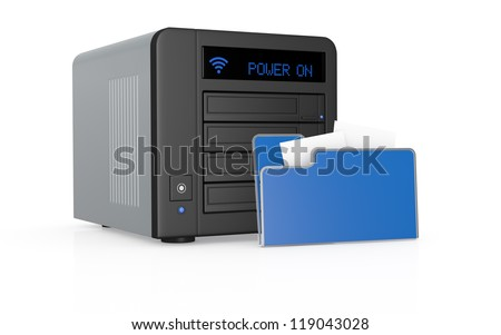 one nas (network attached storage) with computer folder icon (3d render)