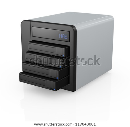 one nas (network attached storage) with four hard drives (3d render)