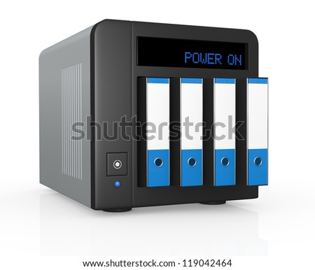 one nas (network attached storage) with four office folders instead of hard drives (3d render)
