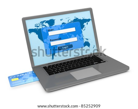 one notebook with a login screen and a credit card that enters on the side, concept of banking services or on line shopping (3d render)