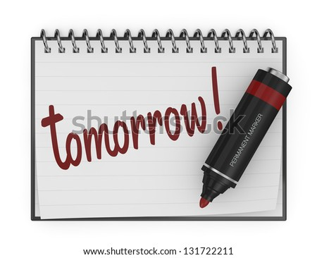 one notepad with a marker and the text: tomorrow (3d render)