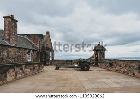 One O'Clock Gun at Mills Mount Battery inside Edinburgh Castle, popular tourist attraction and landmark of Edinburgh, capital city of Scotland, UK #1135020062