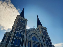 One of famous landmark in Chanthaburi is catholic church that is very old building and beautiful. The Roman Catholic Church Chanthaburi province,Thailand,Backlit image.