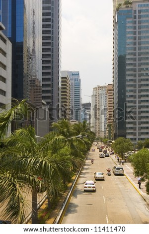 One of Manila's commercial and business districts - stock photo