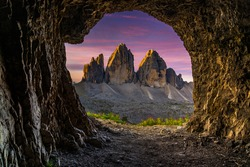One of many caves in the Italian Dolomites, that create natural frame for majestic peaks of Tre Cime di Lavaredo.