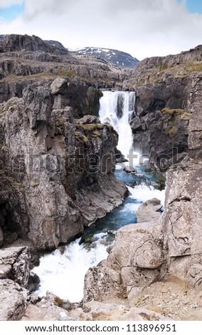 One of many Fossa river falls, Iceland - stock photo