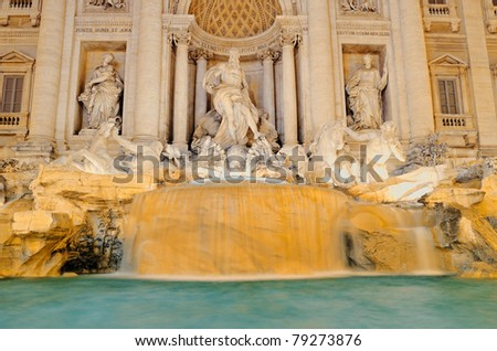 One of most famous Rome's fountains illuminated at night. Italy