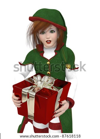 One of Santa's pretty girl elves carrying a reflective gift. Isolated on a white background
