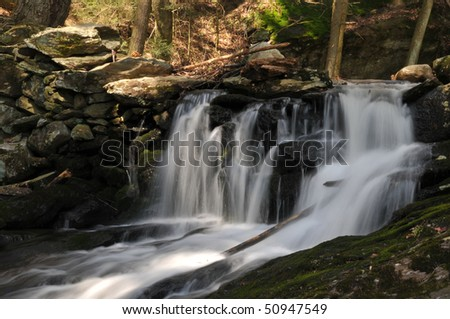 One of several waterfalls at Bailey's Ravine in Franklin, CT, on a lovely spring day.