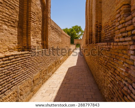 One of streets city of the dead, memorial Complex Chor-Bakr in Bukhara, Uzbekistan.