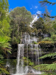 One of Tasmania's best waterfalls is Russell Falls located in the Mt. Field National Park. This spectacular waterfall is downstream from Horseshoe Falls on Russell Falls Creek.