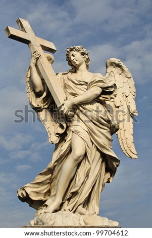 One of the angels at the famous Sant' Angelo bridge in Rome, Italy.