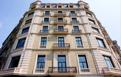 One of the beautiful facades of apartment buildings in Barcelona.