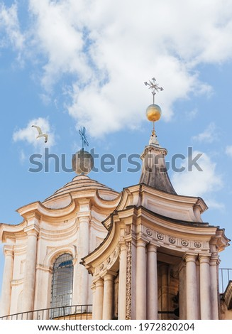 One of the bell towers and the original dome of the baroque church of San Carlo alle Quattro Fontane, a masterpiece by Borromini. Rome, Lazio, Italy Foto stock ©