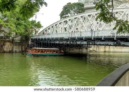 One of the bridges over the Singapore River Architectural monuments and places of interest in Singapore #580688959