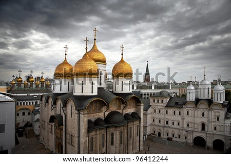 One of the cathedrals inside the Kremlin, Moscow, Russia. Uspensky cathedral.