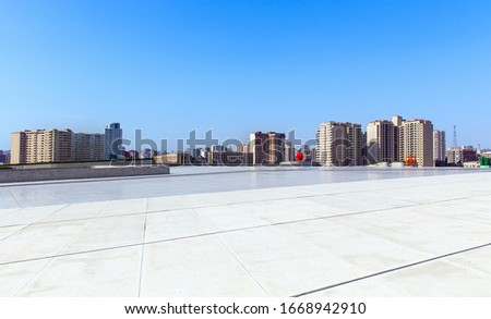 One of the central squares of Baku. Square in front of the Heydar Aliyev Cultural Center. Republic of Azerbaijan