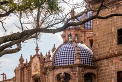one of the domes of the cathedral in Morelia cuty, michocan, Mexico
