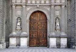 One of the entrances to the Metropolitan Cathedral in Mexico City, Mexico