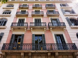 One of the facades of beautiful buildings in the Eixample quarter in Barcelona