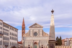 One of the famous churches Basilica of Santa Maria Novella in the evening light. Florence, Italy.