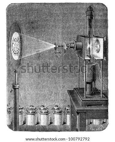 One of the first microscope based on the photoelectric effect, in which electrons are emitted from matter after energy absorption. Engraving  from L'Electricite' by J. Baille, Paris - Hachette 1868.