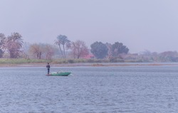 One of the fishermen of the Nile near the barrages of Mohamed Ali